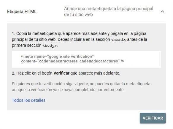 tutorial search console verificar propiedad etiqueta html