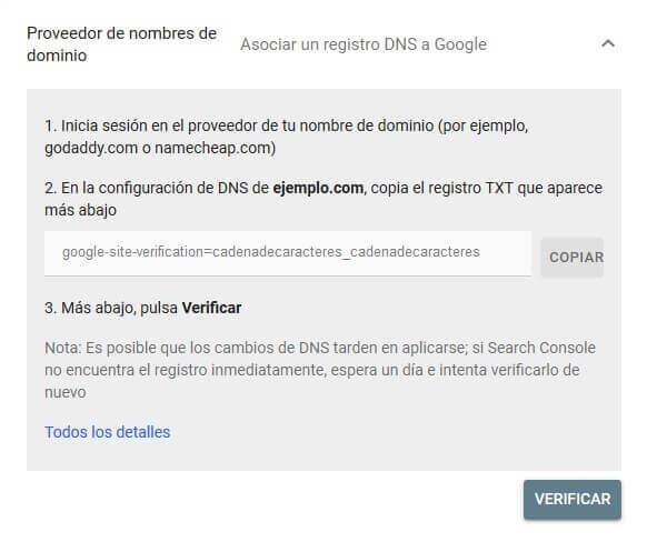tutorial search console verificar propiedad google registro dns