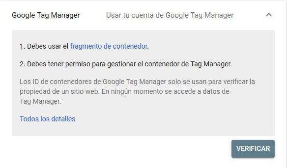 tutorial search console verificar propiedad google tag manager
