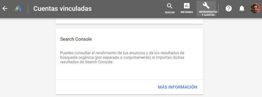 tutorial search console vincular google ads
