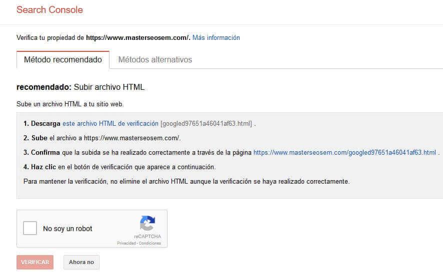 verificar una propiedad en search console con archivo html